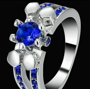 White Gold filled Blue Sapphire CZ crystal Ring